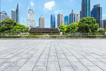 Empty city square road and modern commercial buildings scenery in Shanghai