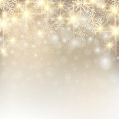 Christmas background with snow and snowflakes glitter on gold background place for text.