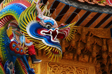 Beautiful and colorful Asian dragon sculpture