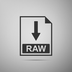 RAW file document icon. Download RAW button icon isolated on grey background. Flat design. Vector Illustration