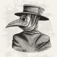 Plague doctor hand drawing vintage engraving isolate on grunge background