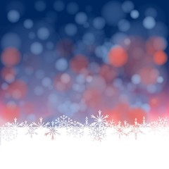background of colored lights out of focus, snow and snowflakes.