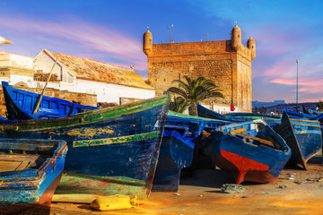 Wall Mural - Blue fishing boats in the port of Essaouira, Morocco
