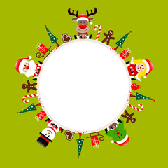 Round Frame Santa, Rudolph, Tree, Angel & Snowman Light Green