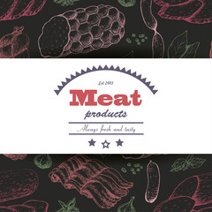 Vector background with meat products