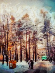 Winter landscape, snow-covered expanses. Stock. Big size pictorial art. Watercolor and oil mixed painting style. Good for printing art pictures, design postcard, posters and wallpapers