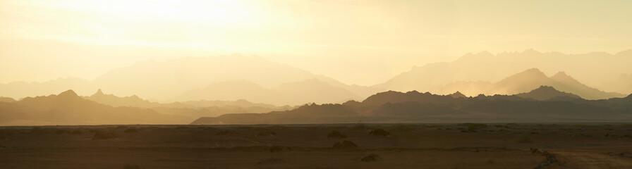 Panorama of mountains in the Sinai desert at sunset