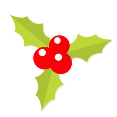 Holly berry icon. Mistletoe. Green leaf Three red berries. Merry Christmas symbol. Flat design. White background. Isolated.