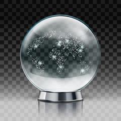Christmas Snow Globe. Transparent Christmas Ball With Snow Inside