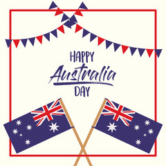 happy australia day poster with crossed flags australia over red frame with festoons on white background vector illustration
