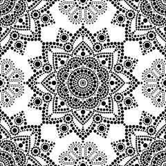Aboriginal dot painting seamless pattern, bohemian Mandala vector dot art, retro folk design inspired by traditional art from Australia