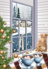 Hot chocolate drinks Christmas background Vector realistic