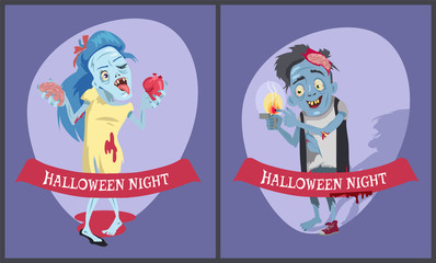 Halloween Night Comic Images Vector Illustration