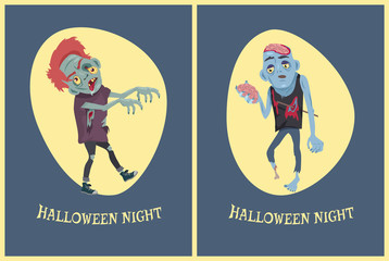 Halloween Night Zombies on Vector Illustration
