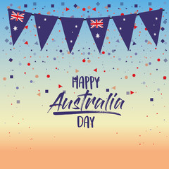 happy australia day poster with dawn sky scene background with colorful festoons and confetti vector illustration