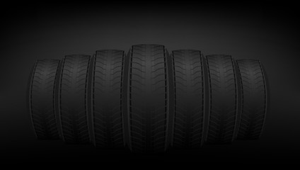 Realistic Car Tires Banner Template