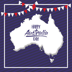 happy australia day poster with white frame and australian map over dark blue background vector illustration