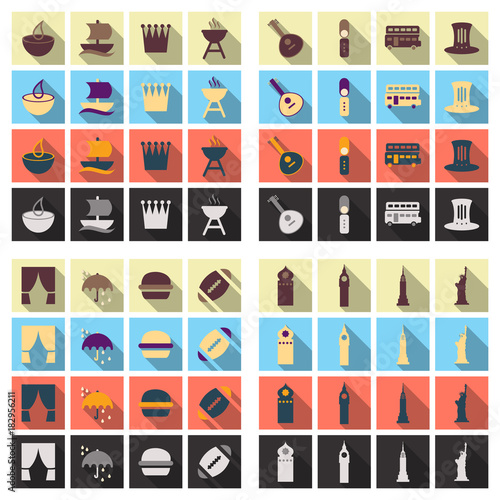 Travel Symbols And Tourism Signs Vector Illustration Stock Image