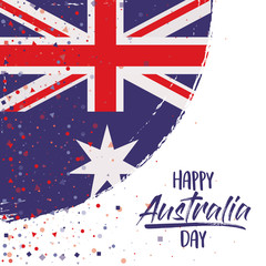 happy australia day poster with australian flag rounded brush strokes over white background vector illustration
