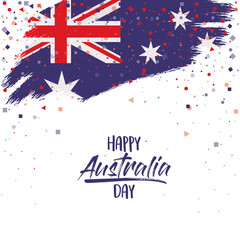 happy australia day poster with australian flag brush strokes upper edge over white background vector illustration