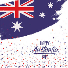 happy australia day poster with australian flag in brush strokes oval over white background with confetti vector illustration