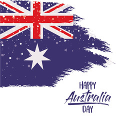 happy australia day poster with australian flag in brush strokes over white background with star vector illustration