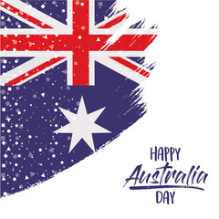 happy australia day poster with australian flag in brush strokes over white background with star and confetti vector illustration