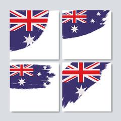 australian flag in brush strokes set of frames over white background vector illustration