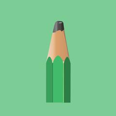 Upper part of a green pencil. Vector illustration