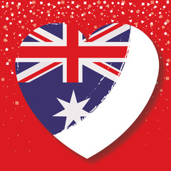 australian flag on heart in red background with confetti vector illustration