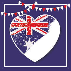 frame and festoons and australian flag on heart over dark blue background vector illustration