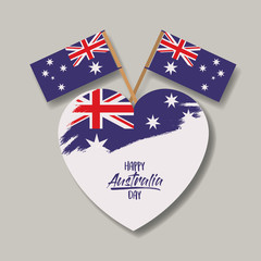 happy australia day poster with australian flag on heart and cross australian flags in light background vector illustration