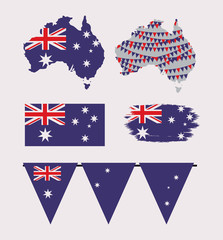icons set of australia day with colorful australian maps flags and festoons vector illustration