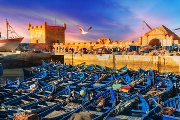 Foto op Aluminium Marokko Fishing port of Essaouira at the sunset time, Morocco