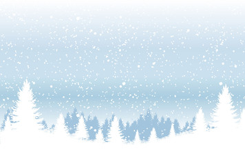 Backdrop with winter forest