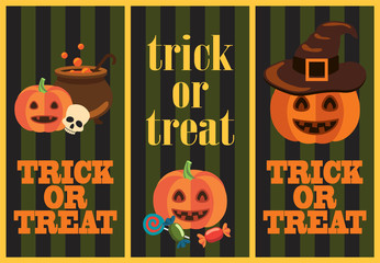 Trick or Treat Vertical Images Vector Illustration