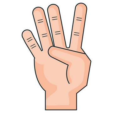hand counting four on fingers vector illustration design