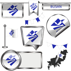Glossy icons with flag of Busan