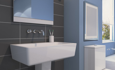 Spacious bathroom in gray tones with heated floors, freestanding tub. 3D rendering. Empty picture