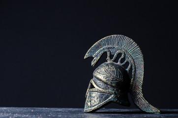 roman helmet on a black background