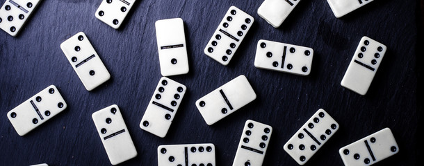 game in the domino, on the black background