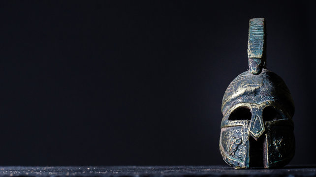 roman helmet on a black background