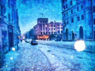 Winter in the city in Europe, snow on the streets. Stock. Big size pictorial art. Watercolor and oil mixed painting style. Good for printing art pictures, design postcard, posters and wallpapers