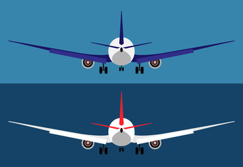 Flying airplane isolated, passenger plane rear view. Flat vector illustration.