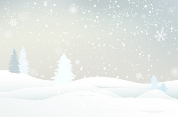 Abstract winter landscape with snow, trees and snowflakes