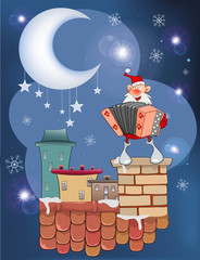 Aluminium Prints Baby room Illustration of the Cute Santa Claus a Accordion Player on the Roof