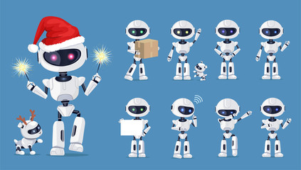 Funny Robot Set of Icons Vector Illustration