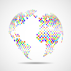 Abstract globe earth of colorful circles. Vector