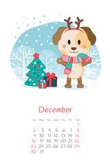 Calendar 2018 months December with dog