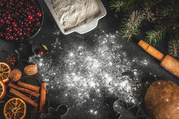 Ingredients for Christmas, winter baking cookies. Gingerbread, fruitcake. Flour, cranberries, dried oranges, cinnamon, spices on a black stone table, top view copy space